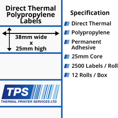 38 x 25mm Direct Thermal Polypropylene Labels With Permanent Adhesive on 25mm Cores - TPS1096-24