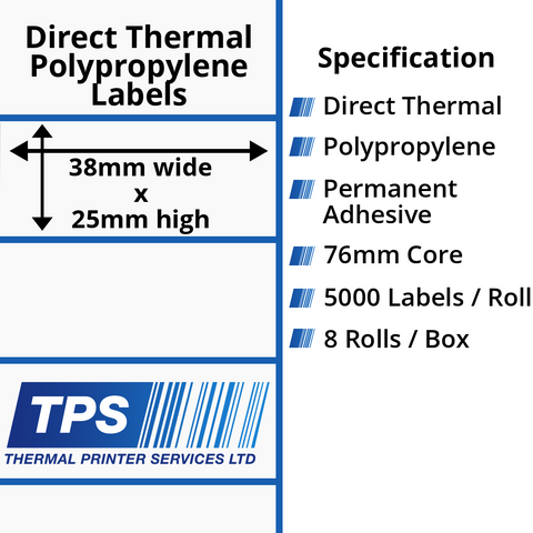 38 x 25mm Direct Thermal Polypropylene Labels With Permanent Adhesive on 38mm Cores - TPS1097-24