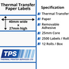 Image of 40 x 27mm Thermal Transfer Paper Labels With Removable Adhesive on 25mm Cores - TPS1099-23