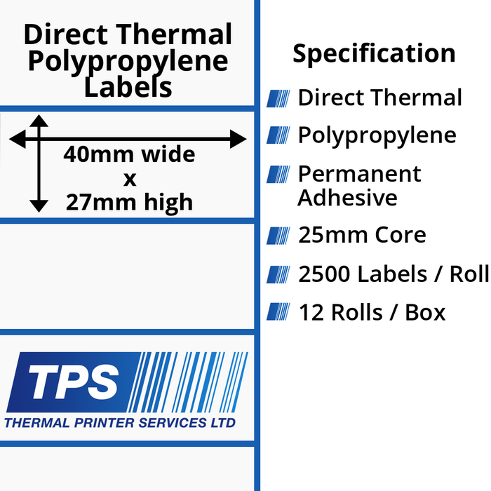 40 x 27mm Direct Thermal Polypropylene Labels With Permanent Adhesive on 25mm Cores - TPS1099-24