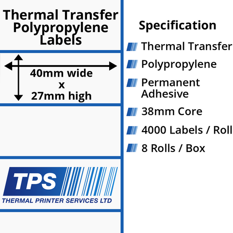 40 x 27mm Gloss White Thermal Transfer Polypropylene Labels With Permanent Adhesive on 38mm Cores - TPS1100-26