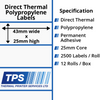 Image of 43 x 25mm Direct Thermal Polypropylene Labels With Permanent Adhesive on 25mm Cores - TPS1105-24