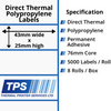 Image of 43 x 25mm Direct Thermal Polypropylene Labels With Permanent Adhesive on 76mm Cores - TPS1107-24