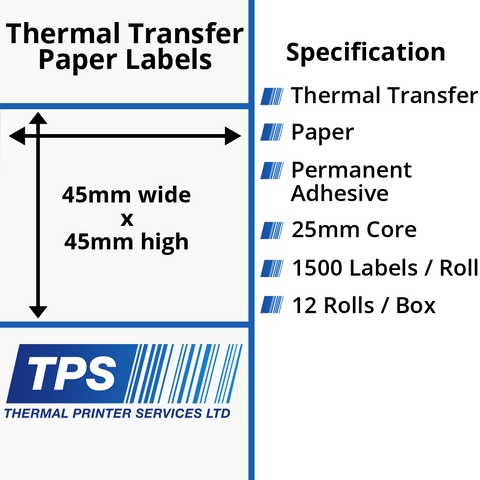 45 x 45mm Thermal Transfer Paper Labels With Permanent Adhesive on 25mm Cores - TPS1108-21