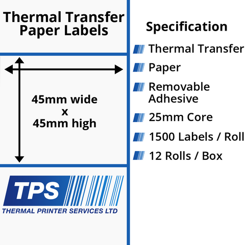 45 x 45mm Thermal Transfer Paper Labels With Removable Adhesive on 25mm Cores - TPS1108-23