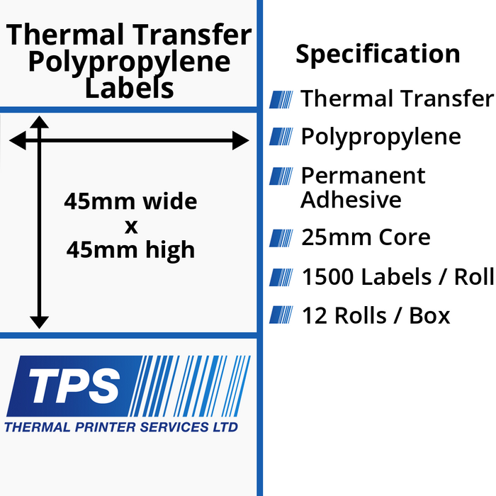 45 x 45mm Gloss White Thermal Transfer Polypropylene Labels With Permanent Adhesive on 25mm Cores - TPS1108-26