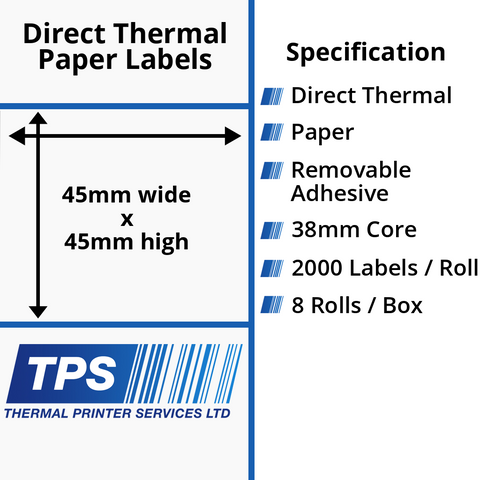 45 x 45mm Direct Thermal Paper Labels With Removable Adhesive on 38mm Cores - TPS1109-22