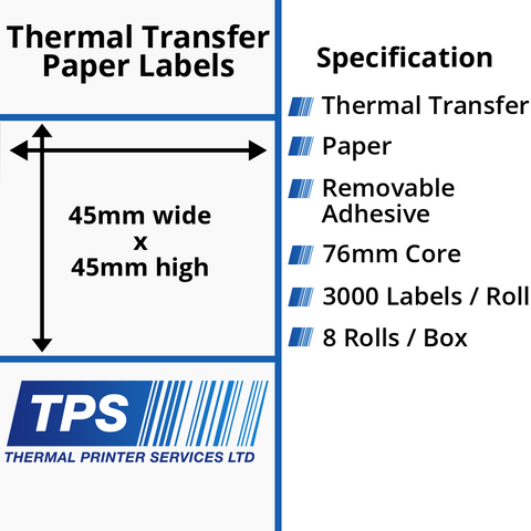 45 x 45mm Thermal Transfer Paper Labels With Removable Adhesive on 76mm Cores - TPS1110-23