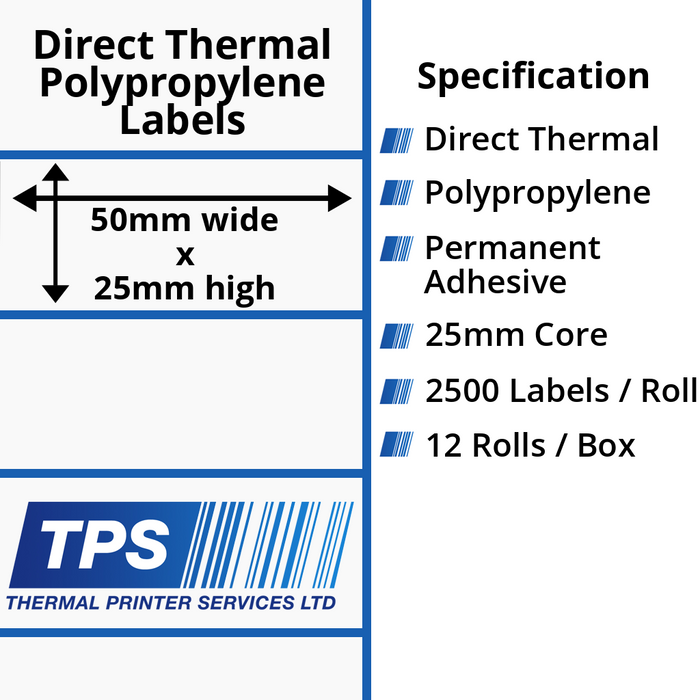 50 x 25mm Direct Thermal Polypropylene Labels With Permanent Adhesive on 25mm Cores - TPS1114-24