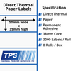 Image of 50 x 35mm Direct Thermal Paper Labels With Permanent Adhesive on 38mm Cores - TPS1118-20
