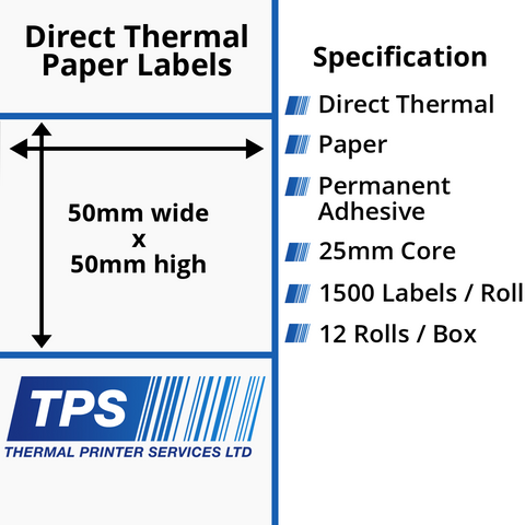 50 x 50mm Direct Thermal Paper Labels With Permanent Adhesive on 25mm Cores - TPS1123-20