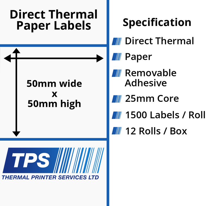 50 x 50mm Direct Thermal Paper Labels With Removable Adhesive on 25mm Cores - TPS1123-22