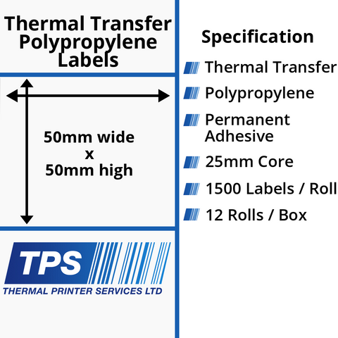 50 x 50mm Gloss White Thermal Transfer Polypropylene Labels With Permanent Adhesive on 25mm Cores - TPS1123-26
