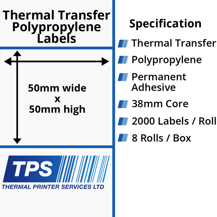 50 x 50mm Gloss White Thermal Transfer Polypropylene Labels With Permanent Adhesive on 38mm Cores - TPS1124-26