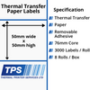 Image of 50 x 50mm Thermal Transfer Paper Labels With Removable Adhesive on 76mm Cores - TPS1125-23