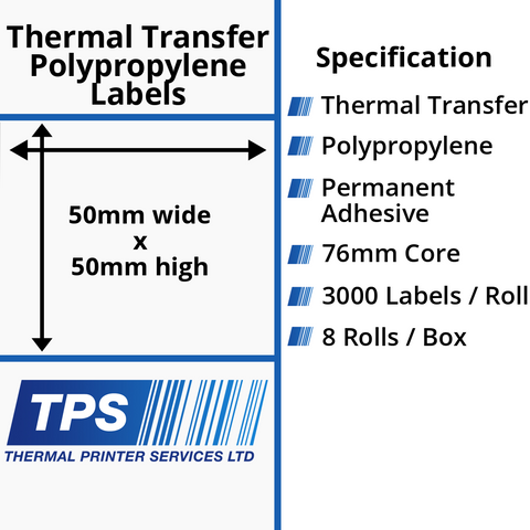 50 x 50mm Gloss White Thermal Transfer Polypropylene Labels With Permanent Adhesive on 76mm Cores - TPS1125-26