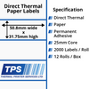 Image of 50.8 x 31.75mm Direct Thermal Paper Labels With Permanent Adhesive on 25mm Cores - TPS1129-20
