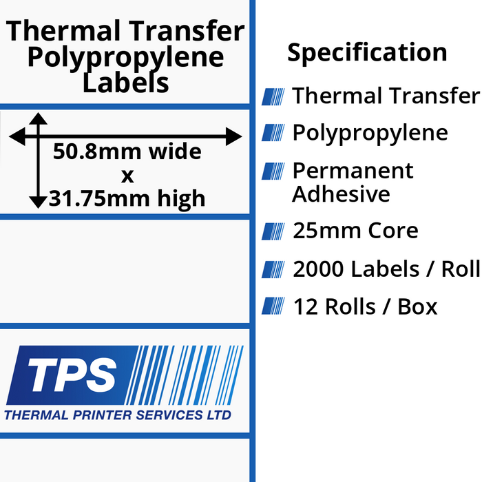 50.8 x 31.75mm Gloss White Thermal Transfer Polypropylene Labels With Permanent Adhesive on 25mm Cores - TPS1129-26