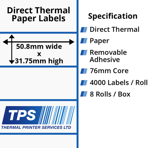 50.8 x 31.75mm Direct Thermal Paper Labels With Removable Adhesive on 76mm Cores - TPS1131-22
