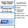 Image of 50.8 x 31.75mm Direct Thermal Paper Labels With Removable Adhesive on 76mm Cores - TPS1131-22