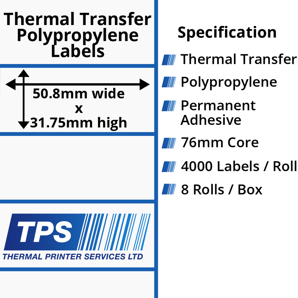 50.8 x 31.75mm Gloss White Thermal Transfer Polypropylene Labels With Permanent Adhesive on 76mm Cores - TPS1131-26