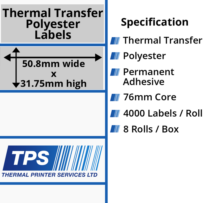 50.8 x 31.75mm Silver Polyester Labels With Permanent Adhesive on 76mm Cores - TPS1131-27