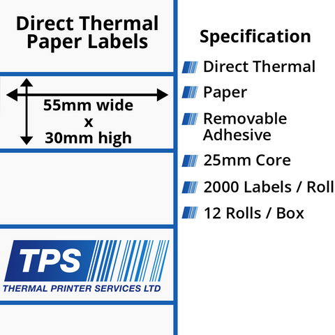55 x 30mm Direct Thermal Paper Labels With Removable Adhesive on 25mm Cores - TPS1138-22