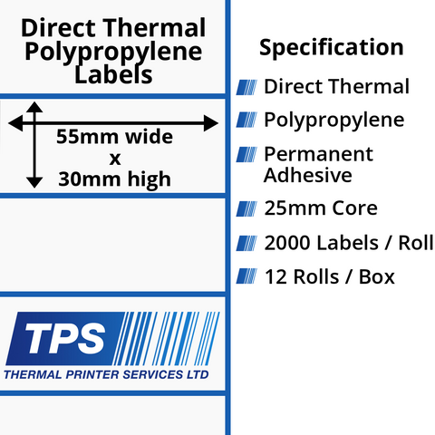 55 x 30mm Direct Thermal Polypropylene Labels With Permanent Adhesive on 25mm Cores - TPS1138-24