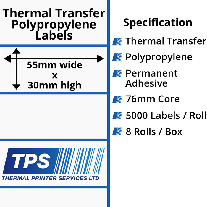 55 x 30mm Gloss White Thermal Transfer Polypropylene Labels With Permanent Adhesive on 76mm Cores - TPS1140-26