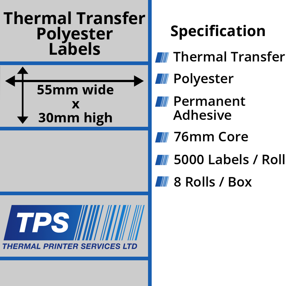 55 x 30mm Silver Polyester Labels With Permanent Adhesive on 76mm Cores - TPS1140-27