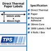 Image of 64 x 40mm Direct Thermal Paper Labels With Permanent Adhesive on 38mm Cores - TPS1154-20