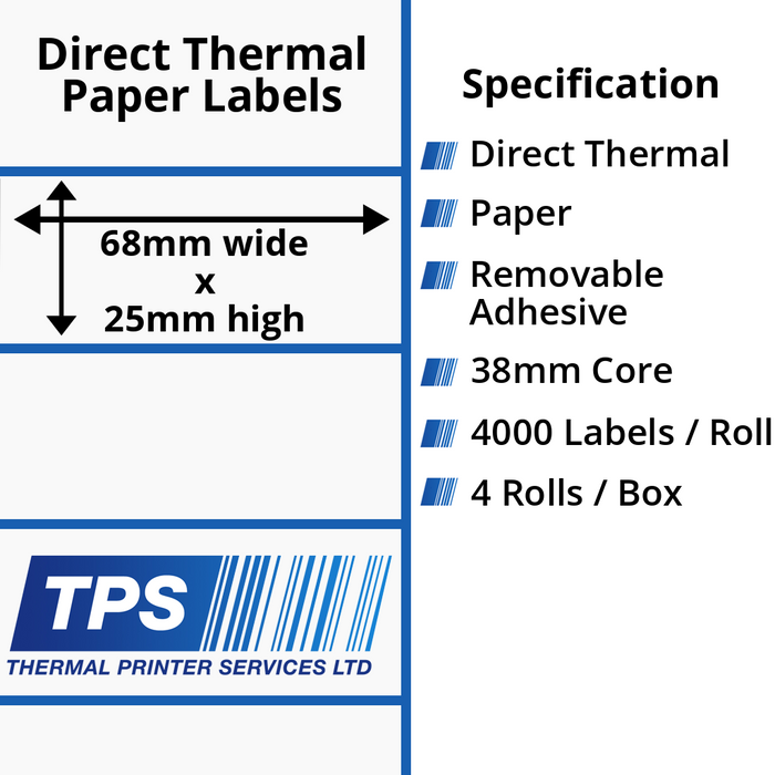 68 x 25mm Direct Thermal Paper Labels With Removable Adhesive on 38mm Cores - TPS1157-22