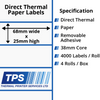 Image of 68 x 25mm Direct Thermal Paper Labels With Removable Adhesive on 38mm Cores - TPS1157-22
