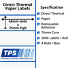 Image of 68 x 25mm Direct Thermal Paper Labels With Removable Adhesive on 76mm Cores - TPS1158-22