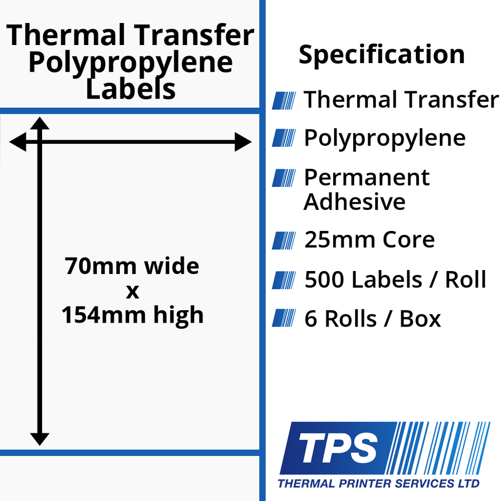 70 x 154mm Gloss White Thermal Transfer Polypropylene Labels With Permanent Adhesive on 25mm Cores - TPS1159-26