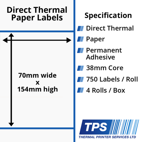 70 x 154mm Direct Thermal Paper Labels With Permanent Adhesive on 38mm Cores - TPS1160-20