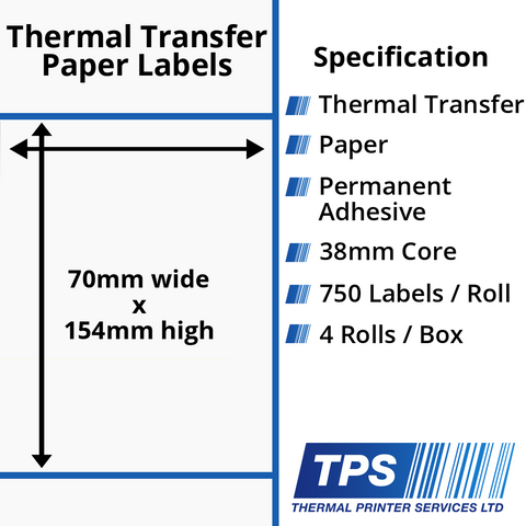 70 x 154mm Thermal Transfer Paper Labels With Permanent Adhesive on 38mm Cores - TPS1160-21
