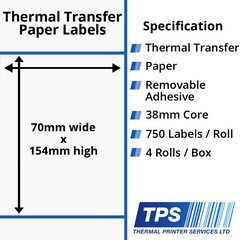 70 x 154mm Thermal Transfer Paper Labels With Removable Adhesive on 38mm Cores - TPS1160-23