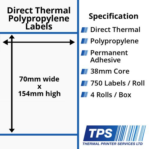 70 x 154mm Direct Thermal Polypropylene Labels With Permanent Adhesive on 38mm Cores - TPS1160-24