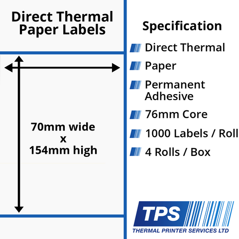 70 x 154mm Direct Thermal Paper Labels With Permanent Adhesive on 76mm Cores - TPS1161-20