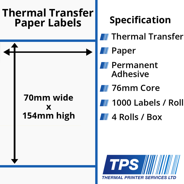 70 x 154mm Thermal Transfer Paper Labels With Permanent Adhesive on 76mm Cores - TPS1161-21
