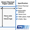 Image of 70 x 154mm Direct Thermal Paper Labels With Removable Adhesive on 76mm Cores - TPS1161-22
