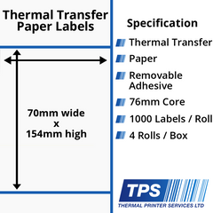 70 x 154mm Thermal Transfer Paper Labels With Removable Adhesive on 76mm Cores - TPS1161-23