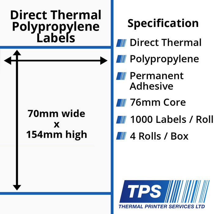 70 x 154mm Direct Thermal Polypropylene Labels With Permanent Adhesive on 76mm Cores - TPS1161-24