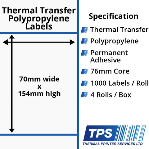 70 x 154mm Gloss White Thermal Transfer Polypropylene Labels With Permanent Adhesive on 76mm Cores - TPS1161-26