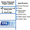 Image of 70 x 20mm Direct Thermal Paper Labels With Removable Adhesive on 25mm Cores - TPS1162-22