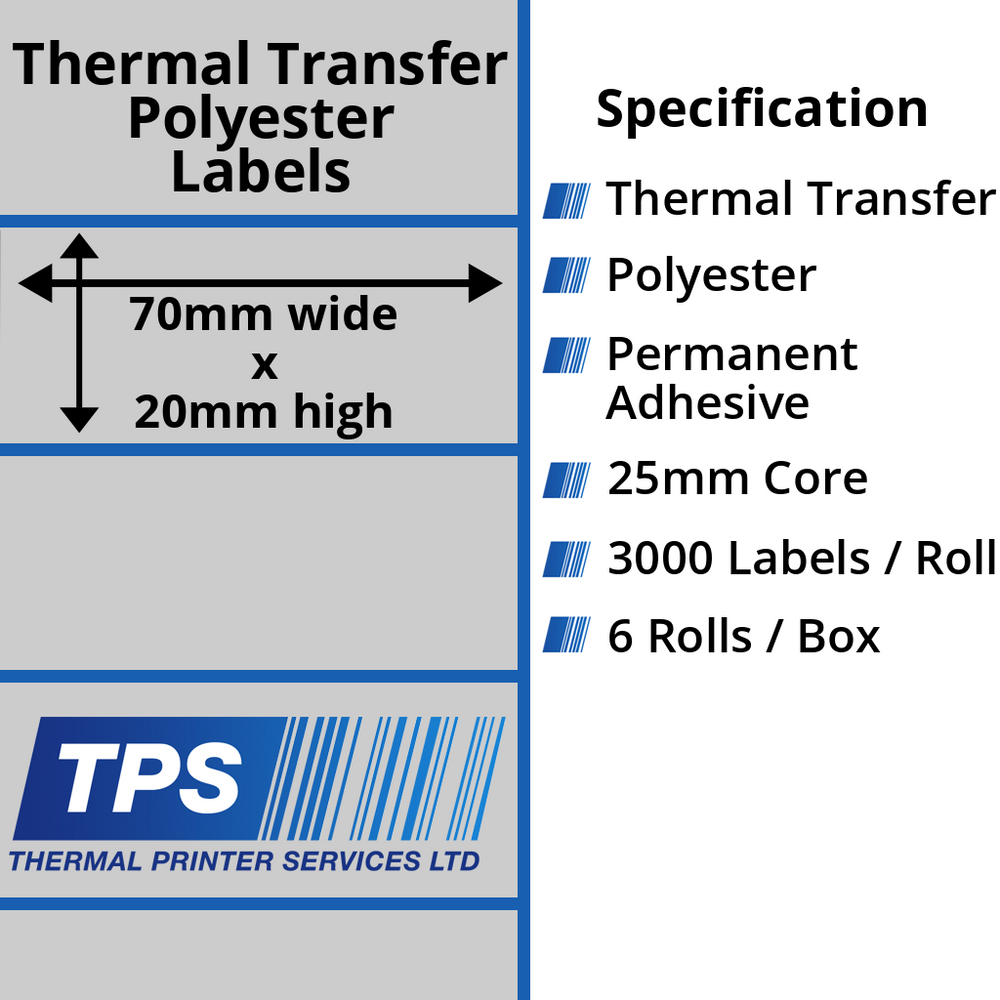 70 x 20mm Silver Polyester Labels With Permanent Adhesive on 25mm Cores - TPS1162-27