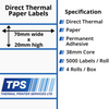 Image of 70 x 20mm Direct Thermal Paper Labels With Permanent Adhesive on 38mm Cores - TPS1163-20