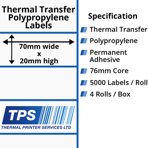 70 x 20mm Gloss White Thermal Transfer Polypropylene Labels With Permanent Adhesive on 76mm Cores - TPS1164-26