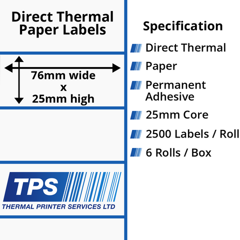 76 x 25mm Direct Thermal Paper Labels With Permanent Adhesive on 25mm Cores - TPS1174-20